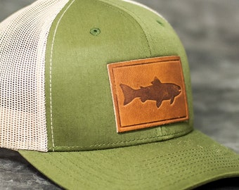 c955682d86b777 Fish Stamp Leather Patch Trucker Style Hats & Custom Logo Leather Patch Hats  for Corporate Gifts Company Gifts Client Gifts