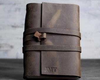 REFILLABLE Personalized Premium Leather Journal Notebook or Sketchbook | Rustic Brown, Saddle Tan, Dark Brown