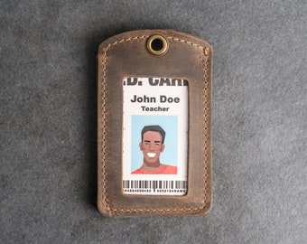 Leather ID Card Holder   ID Badge Holder   Personalized Leather ID Holder   Teacher Gift   Anniversary Gift