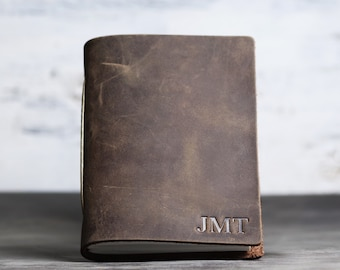 Pocket Leather Journal Notebook Personalized - Premium leather