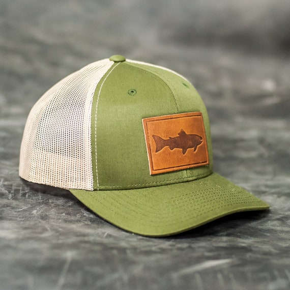 fish stamp leather patch trucker style hats custom logo etsy fish stamp leather patch trucker style hats custom logo leather patch hats for corporate gifts company gifts client gifts