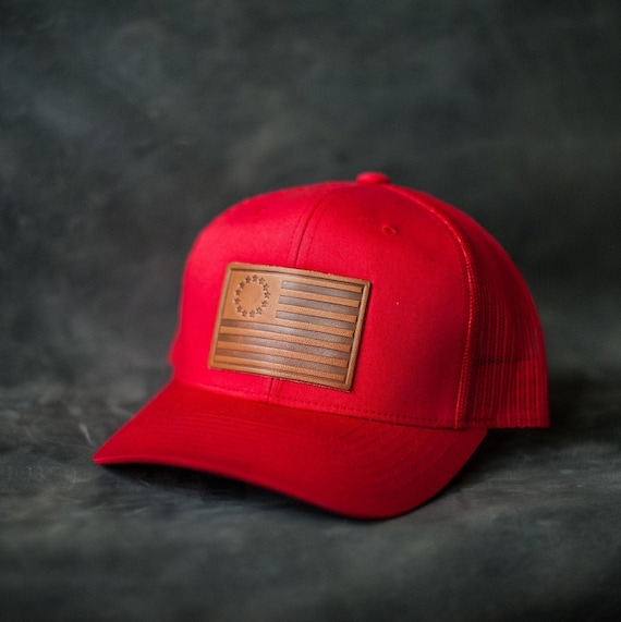 Patriotic Hats - 1776 USA Flag - Leather Patch Trucker Style Hats