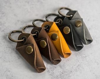 Personalized Premium Leather Keychain   Key Wrap   Custom Key Fob   Leather Gift Handmade in the USA