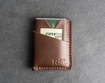 Personalized Leather Card Holder Wallet   Minimalist Wallet   Men's Wallet   Women's Small Wallet