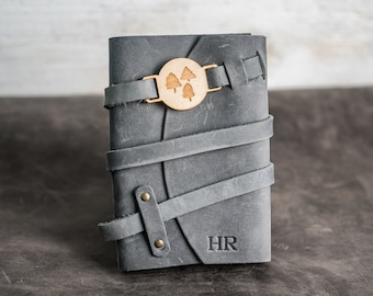 Refillable Leather Adventure Journal with Wrap Closure   Personalized Travel Gift   Travel Notebook   Leather Journal