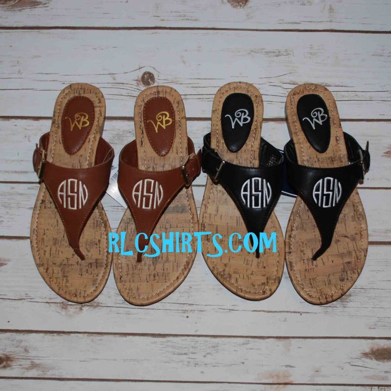 c5b4ba6bef0f1 Monogrammed Sandals. Personalized Sandals. Make great wedding and  bridemaids gifts. Monogrammed Sandal. Monogram Sandal. Monogrammed shoes.