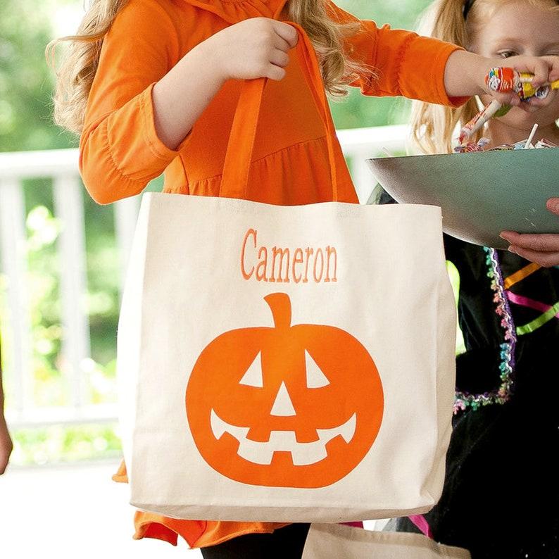 Monogrammed Halloween Candy Tote Bag Halloween Bag Monogram Jack-O-Lantern Canvas Tote Bag Tote Bag Monogram Bag Monogrammed Tote