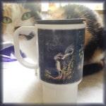 Polymer Travel Mug Stars Card from Mystical Cats Tarot
