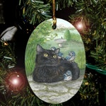 Strength Card from Mystical Cats Tarot Holiday Ornament