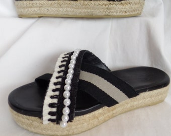 71093cd33adf01 upcycled MAXMARA WEEKEND espadrille wide strap platform espadrille sandals   pearl + fringe trim  size 39- fits US 9 woman