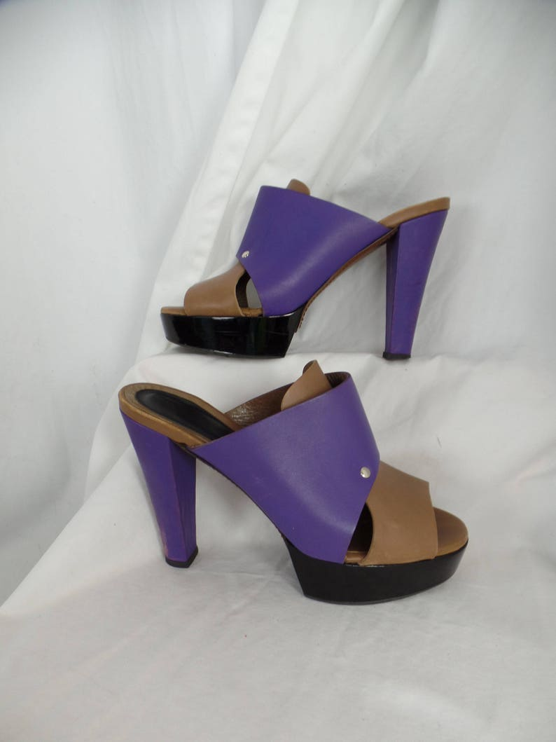 efcb129dfc305 vintage MARNI colorblock statement mules/tan purple and black/ collectible  couture: fits US size 9/ EU 39