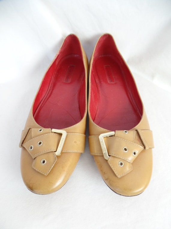 90s CESARE PACIOTTI folded belt and buckle toe camel flats iconic red leather insoles ballet skimmer:IT39 fits US 8.5 women
