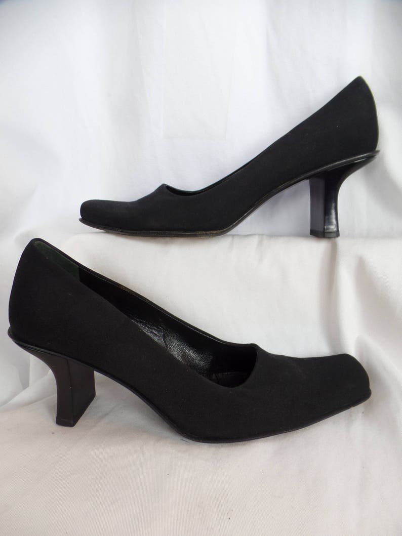 e62edb9d1a302 vintage 80s PRADA peau de soie comma shaped heel pumps/ square toe chic/  made in Italy: IT size 39= US8.5 woman