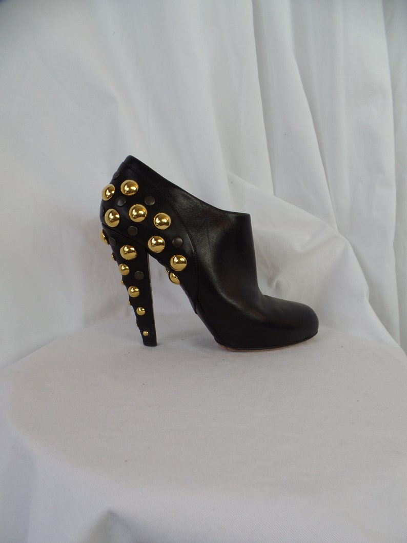 8a4c879a094da vintage GUCCI gold and black studded heel ankle booties/ platform front/  made in Italy: size 40- fit US 9.5-10 women