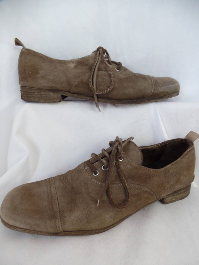 6e54c2b5484a7 vintage PANTOFOLA D'ORO 1886 Super Star Extra dark taupe suede  oxfords/elongated cap toe/ Made in Italy: size IT 38= US7.5 woman