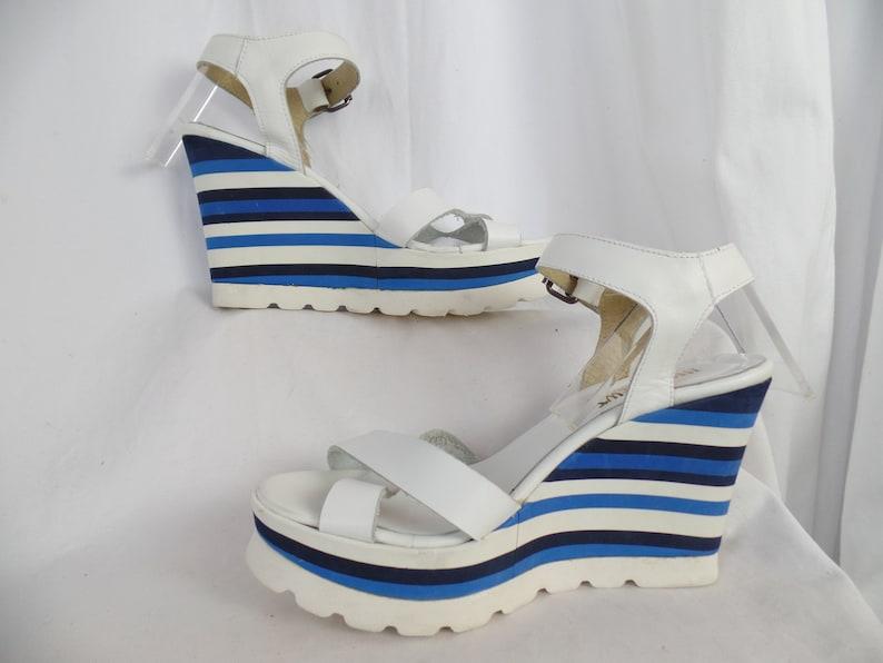 2d5ccd4472436 90s INGLEDEWS cobalt white black striped crepe wedge platform sandal/lug  sole/ made in Italy: size 40- fit US women 9.5-10