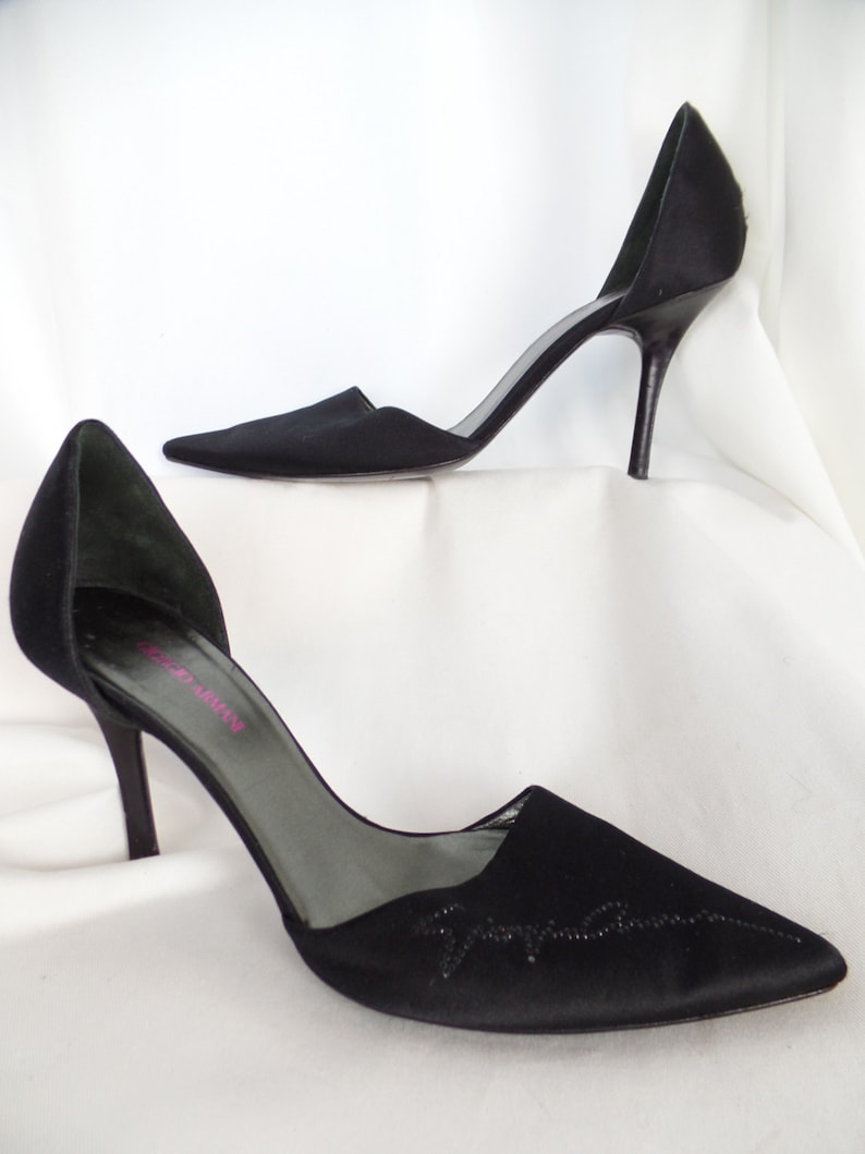 b0c5fa3034f96 90s GIORGIO ARMANI Couture runway signed satin d'orsay stilettos/ black  crystal signature: size IT 37.5= US7.5-8