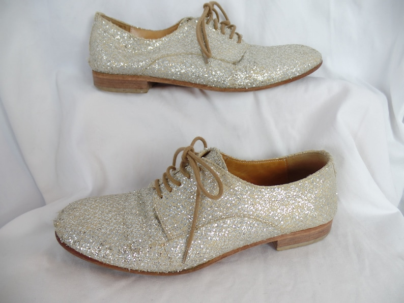 58f3ad82fdcab vintage MAIS0N MARTIN MARGIELA MMM glitter oxfords/ Replica line from 1964/  Unisex/made in Italy: size IT38- fits US7.5-8 woman