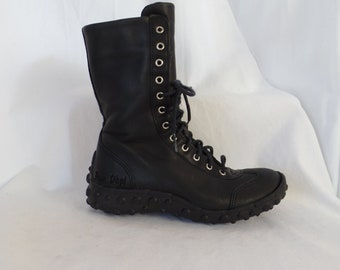 vintage POM D'API children's nubby soled combat boots/ lace up detail with easy zip entry: FR32 kids=US kids 1
