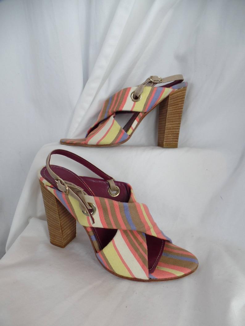 0b3fc950894 Vintage MISSONI awning stripe X strap chunky heel sandals