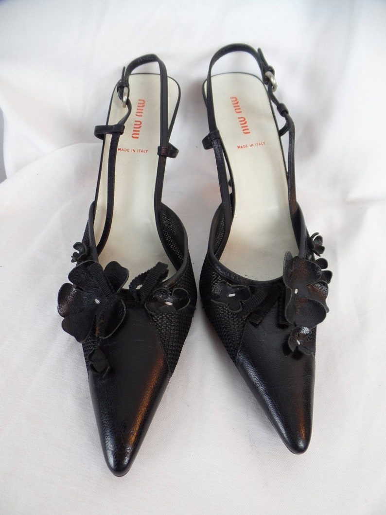 ca631c93adb Vintage MIU MIU black mesh and flower applique slingbacks