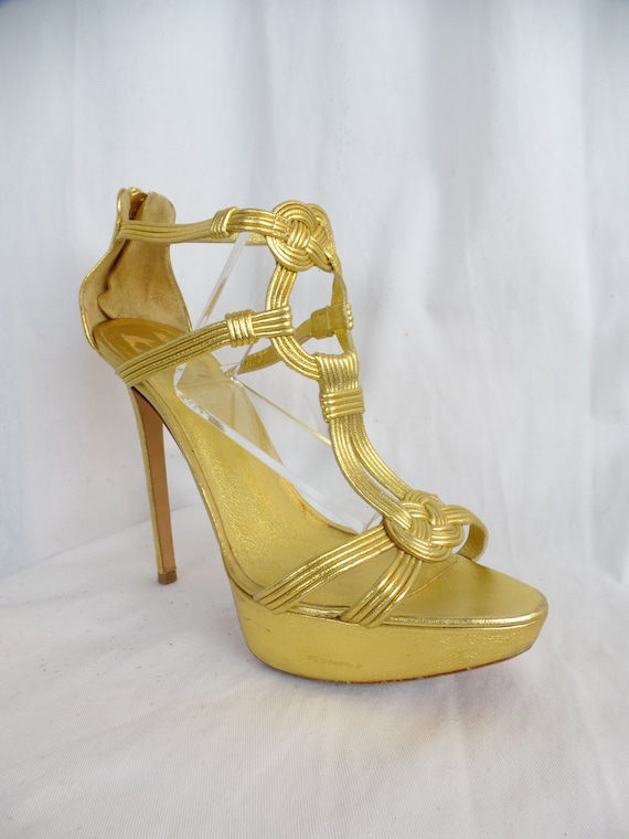 1747d543cc4e0 Vintage EMILIO PUCCI gold 5 stiletto platform sandals/ | Etsy