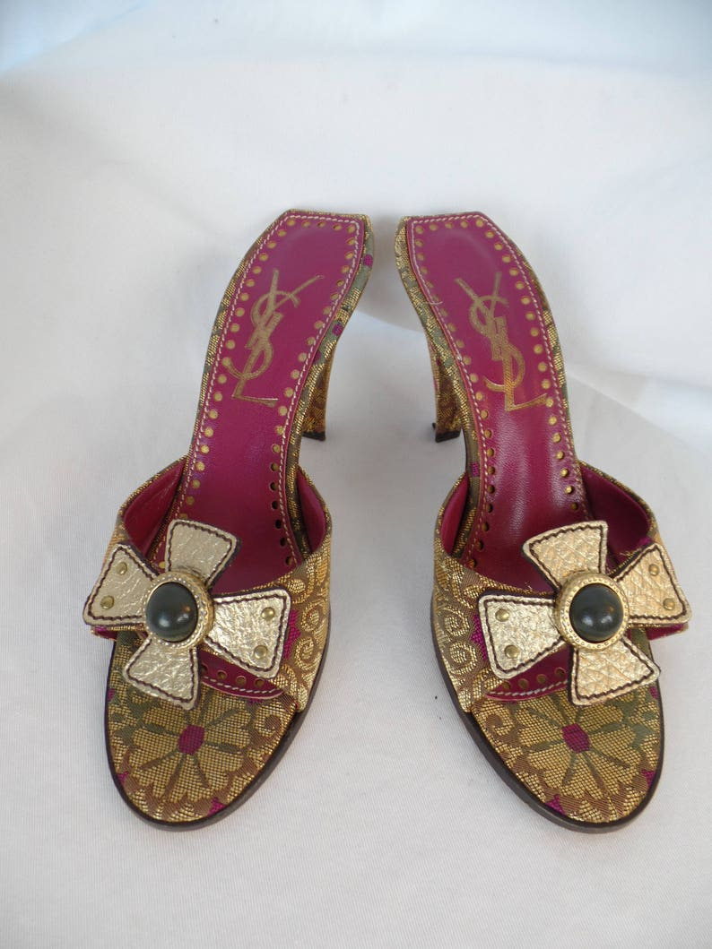 13bf6bb45dc1b vintage YSL YVES SAINT LaURENT Rive Gauche baroque cross metallic tapestry  slides/ pyramid heel/ jeweled gold leather cross: