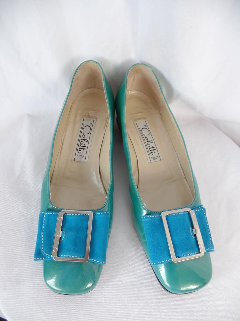 39e58bb7f0d61 60s vintage COLETTE aqua suede + turquoise patent leather pilgrim pumps/  silver mirror flared heel/ Hand Made in ITALY: size 37- fit US 7N