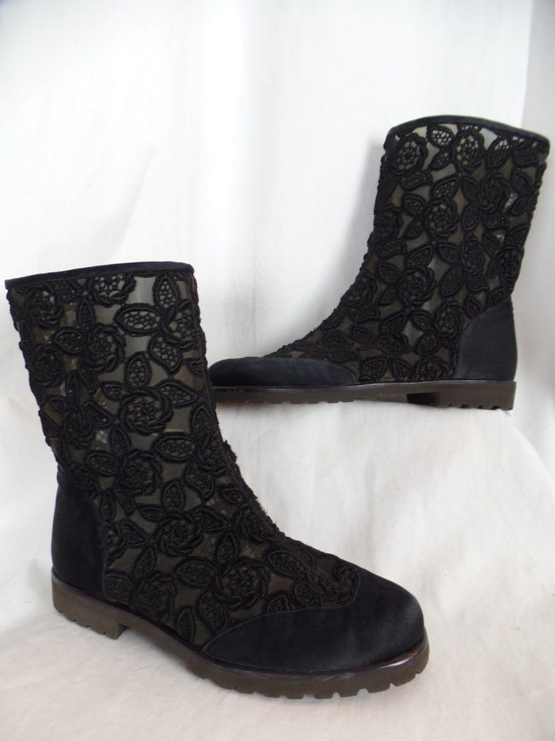 4c3d453f9e6 rare 80s GIANNI VERSACE ISTANTE black floral embroidery on mesh and satin  flat booties/ black crepe rubber lug soles: size 39