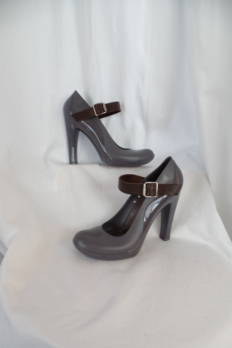 ba03bf44721994 vintage MARNI glossy and matt grey jellies + leather strap Mary Janes   chunky he... vintage MARNI glossy and matt grey jellies + leather strap  Mary Janes  ...