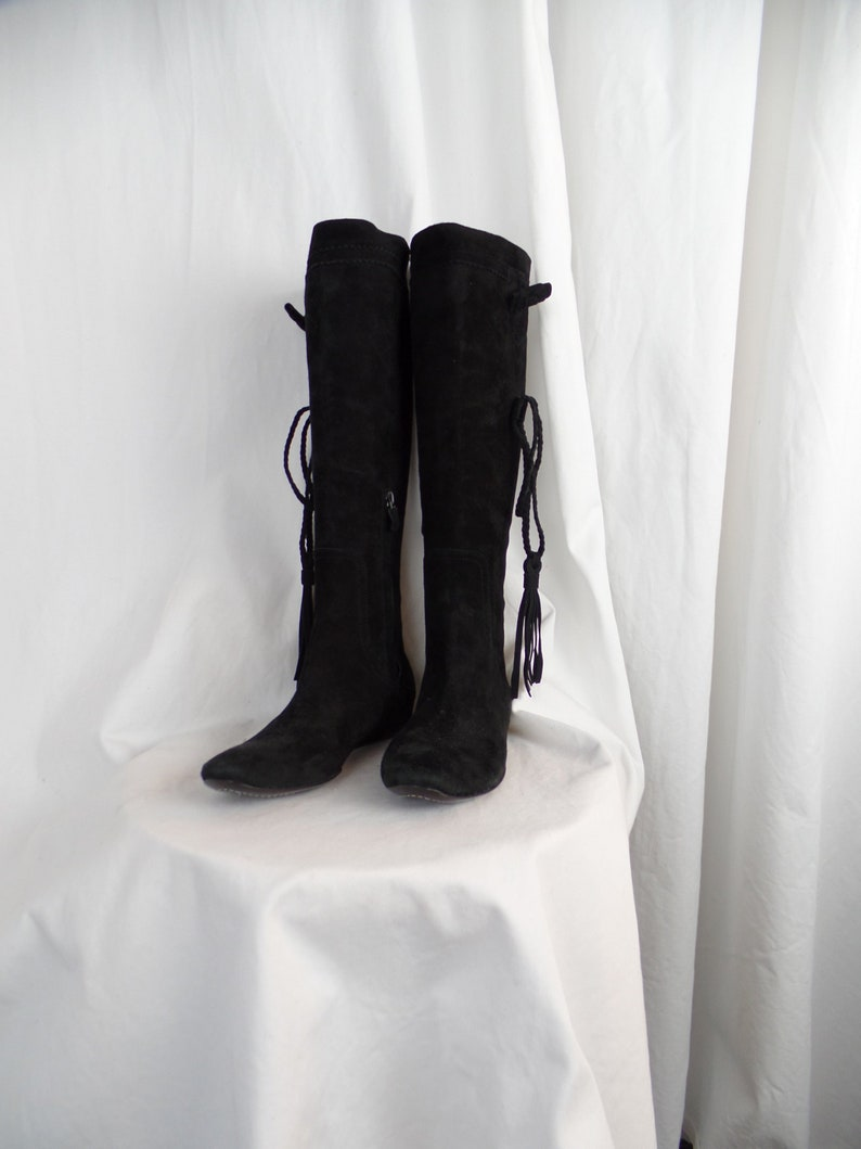 58e257cd3f45 Vintage CoSTUME NATIONAL black suede flat riding boots