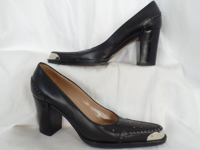 da1bc6f507b39 SERGIO ROSSI Ass kicking chrome toe wingtip brogue chunky heel black pumps  / deadstock: size EU36= US 5.5-6 woman