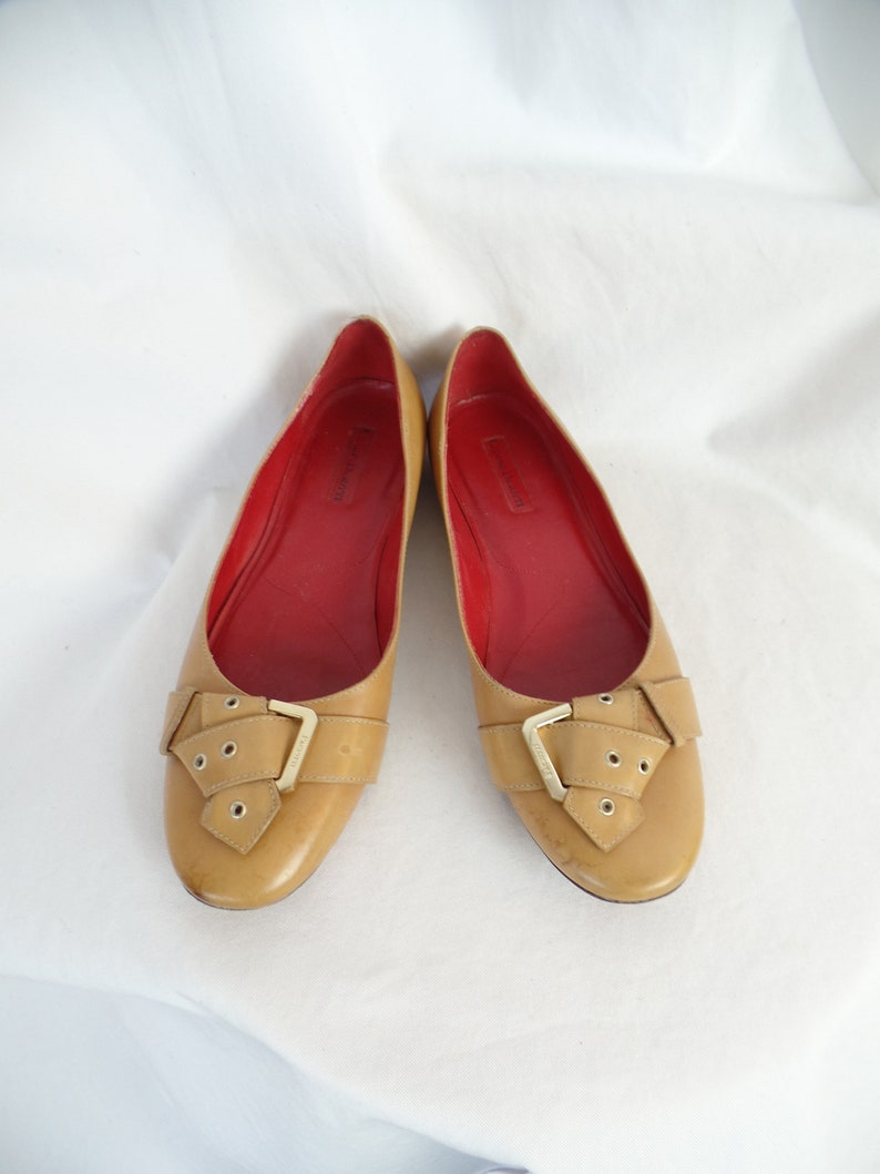 756add6e216d 90s CESARE PACIOTTI folded belt and buckle toe camel flats