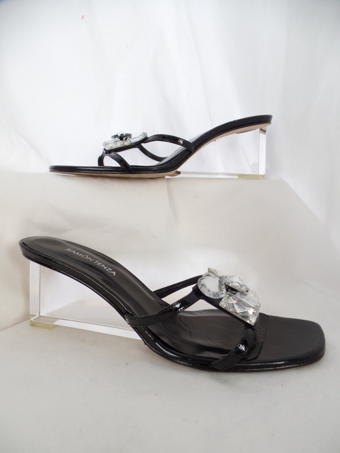 555918dc7415 RAMON TENZA clear Lucite wedge heel gem embellished sandals