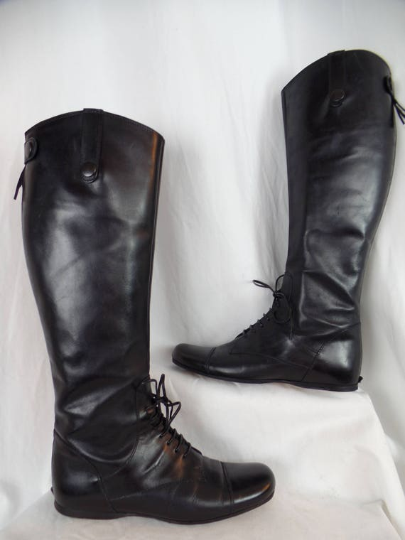 black riding boot oxford lace up