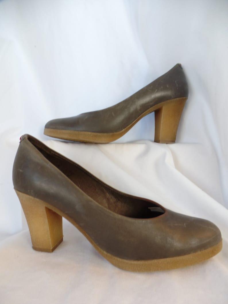 0df240f9344f4 vintage wax + distressed khaki leather pumps with gum rubber platform  soles/minimalist single seam: size 41 fit US 9.5-10 woman