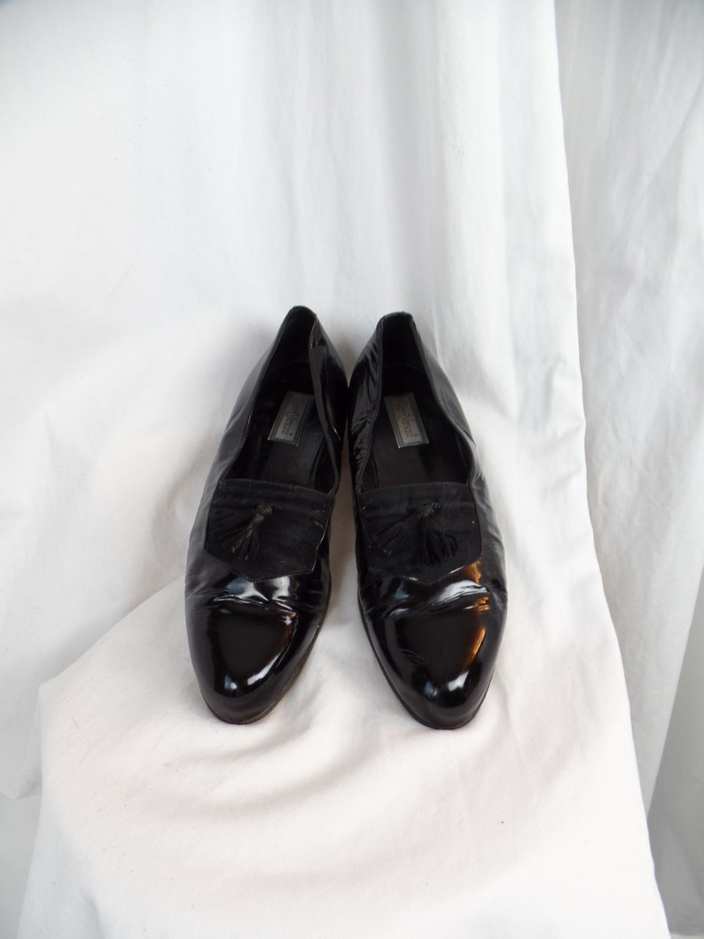 b4bcd0d29e0 early 90s vintage GIANNI VERSACE mens black patent leather tuxedo shoes/  suede tassels/ slip on elegance: size US mens 11