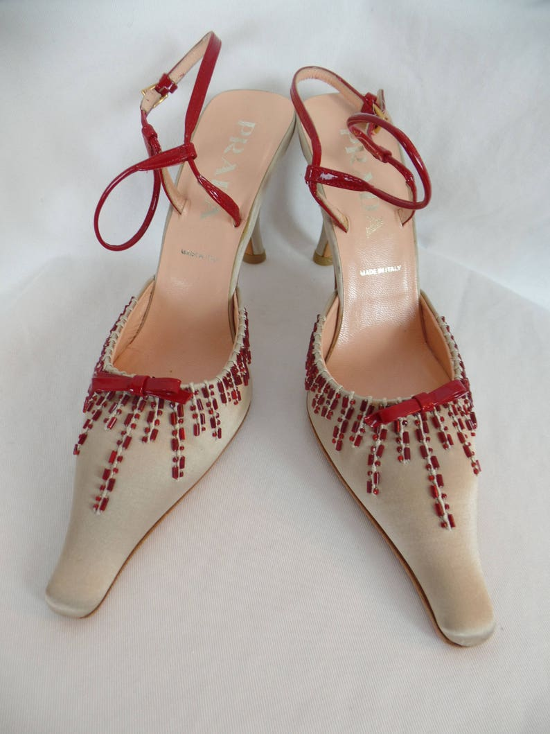 aeb81425bcbde vintage 90s PRADA red beaded starburst champagne satin slingbacks/ extended  toe/ comma shaped heel: size IT 36.5= US 6 women