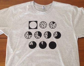 Pizza Phases T-Shirt, Pepperoni Pizza Moon Phases Hand Screen Printed Funny Pizza Shirt, Soft 100% Cotton