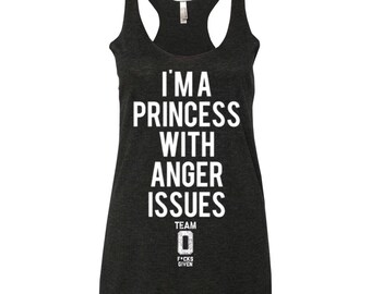 PRINCESS Women's Tri Blend Racerback Tank Top. Vintage Black.