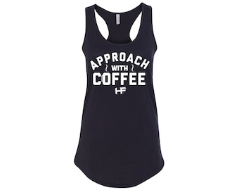 APPROACH WITH COFFEE Limited Edition Women's Ideal Racerback Tank Top. Black.