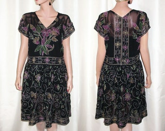 987a4a435a5 Vtg Black Silk Rayon Voile Fancy Afternoon Dress~~Overall Lavish Hand  Embroidery!