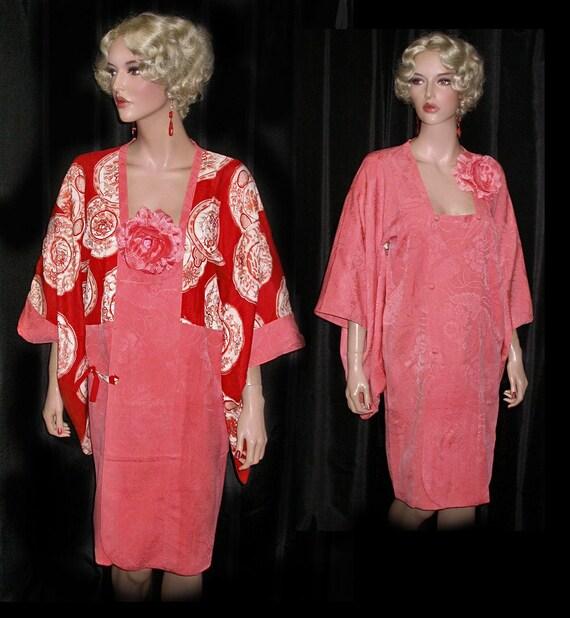 1940s Button Front Coral SILK Brocade KIMONO Dress