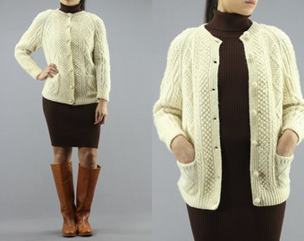 Wool Cable Knit Cardigan Button Up Sweater   Jumper Women s 80 s Vintage 5d6f3a042