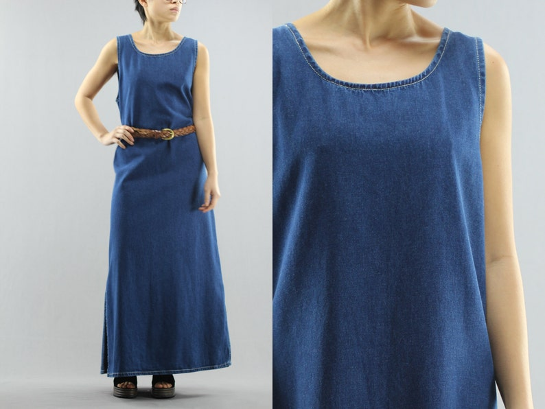 2aabac14 Denim Tank Shift Dress Sleeveless Cotton Maxi Women's Size | Etsy