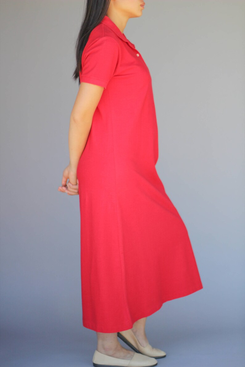 c5ab3bba Lands End Red Polo Maxi Dress Womens Size Medium 90's | Etsy