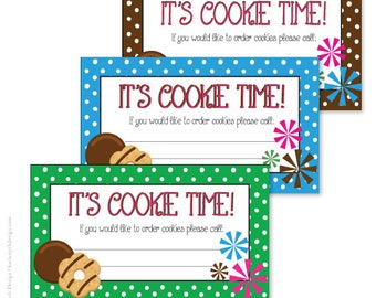 Girl scout business etsy cookie sales business cards polka dot printable download perfect for your school or scout cookie fundraiser colourmoves