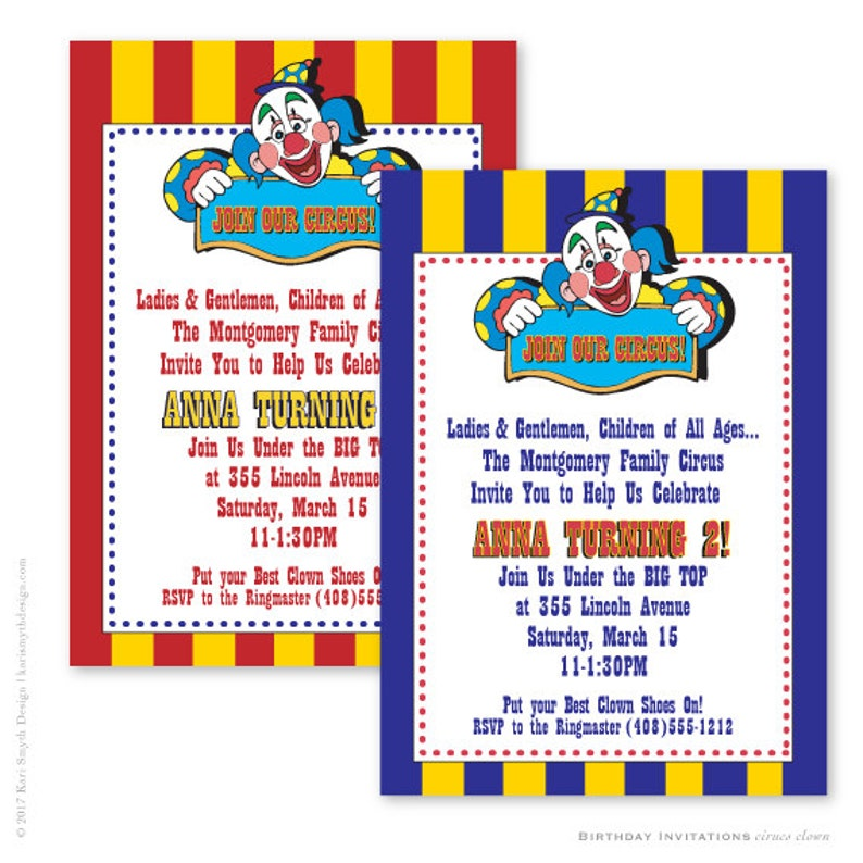Circus Clown Is Coming To Town Birthday Party Invitations Etsy