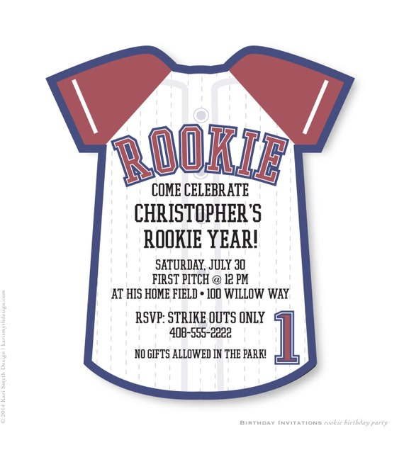 Rookie Year Baseball Jersey Birthday Party Invitation Personalized Printable
