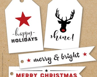 Stars & Reindeer Shine! - Holiday/Christmas Large Gift Tags.  Can be Personalized. Printable Download.